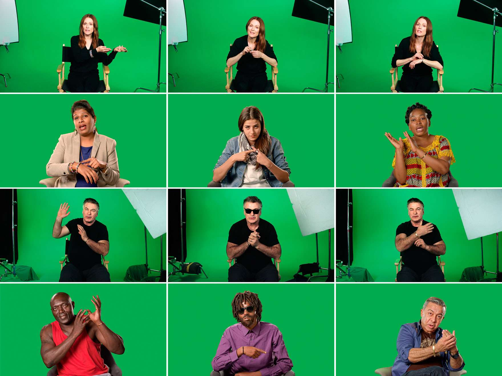 Grid of stills from Candice Breitz's video work, Love Story