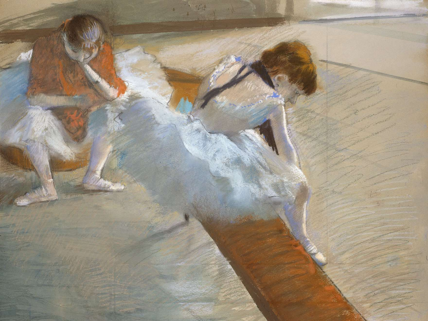 Edgar Degas's pastel on paper drawing, Dancers Resting, 1881–85