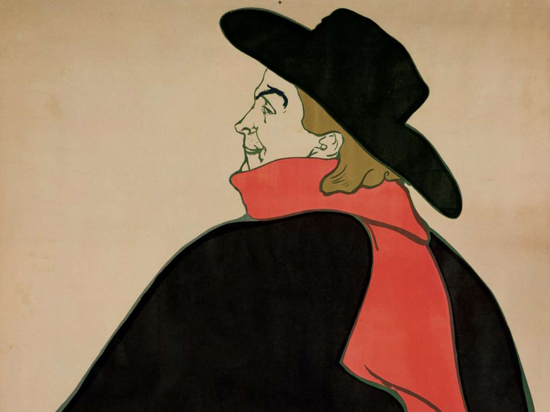 Detail of Henri de Toulouse-Lautrec's print, Aristide Bruant in His Cabaret