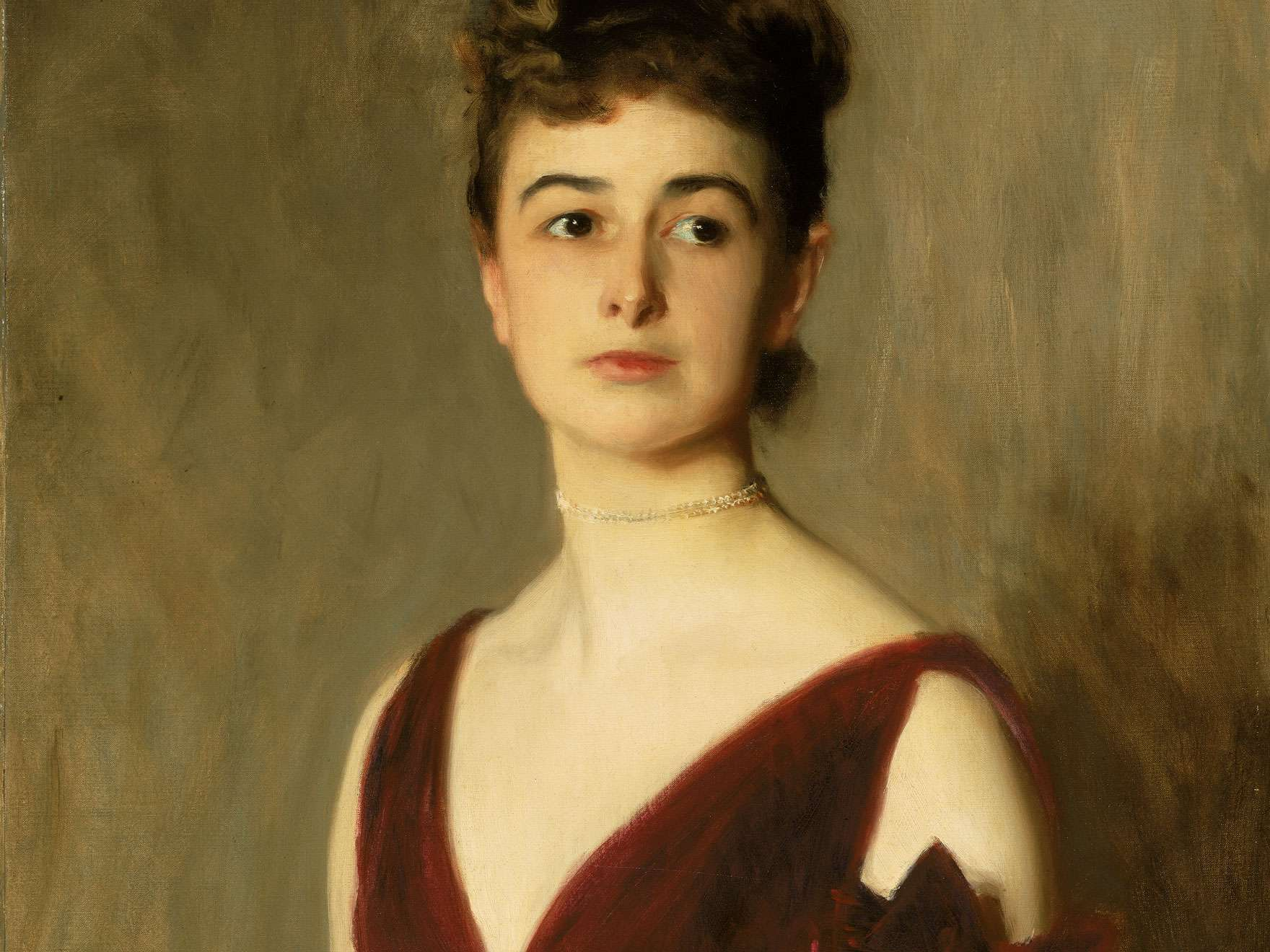 Detail of John Singer Sargent's painting, Mrs. Charles E. Inches (Louise Pomeroy)