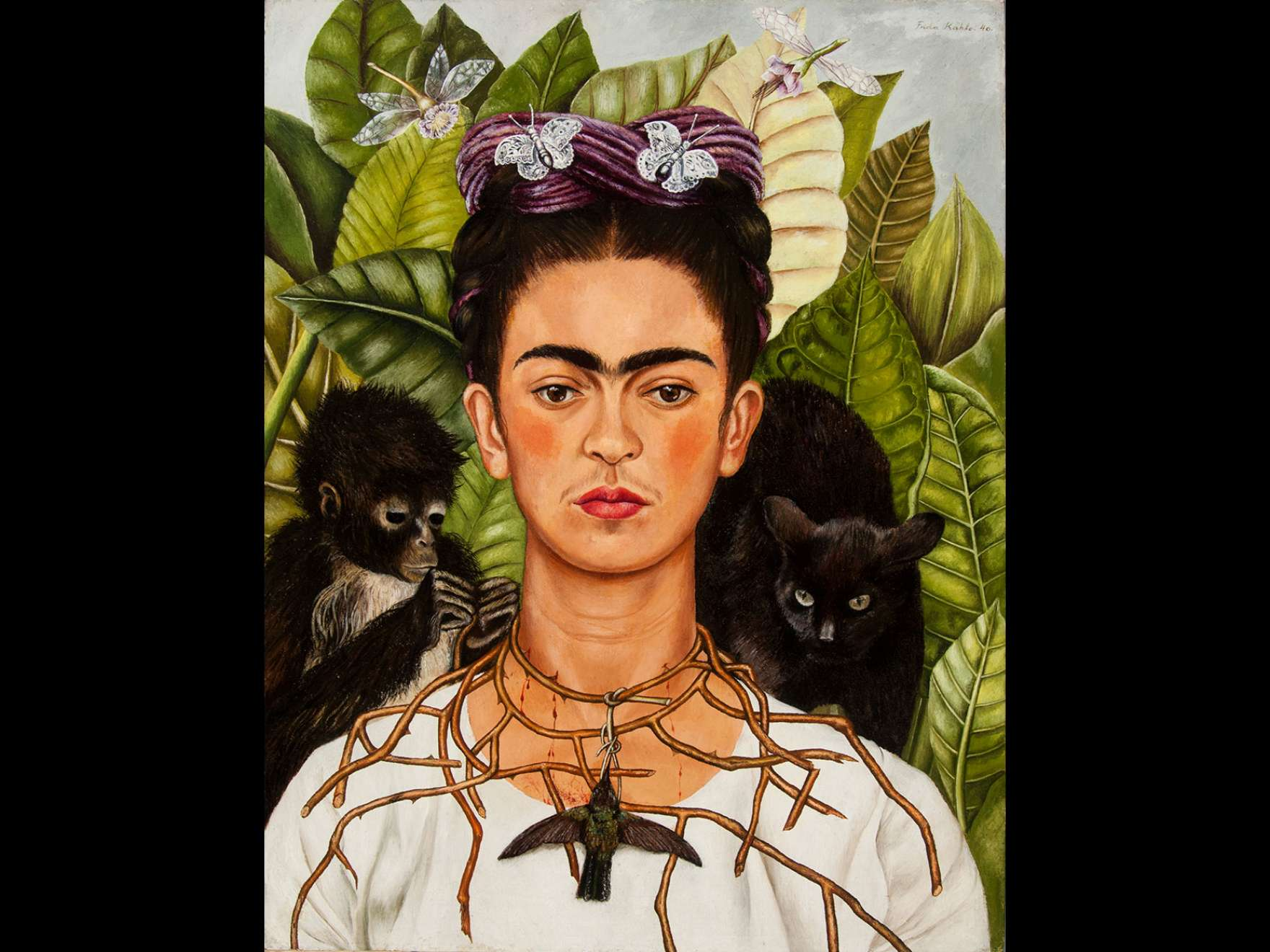 Frida Kahlo's painting, Self-Portrait with Hummingbird and Thorn Necklace