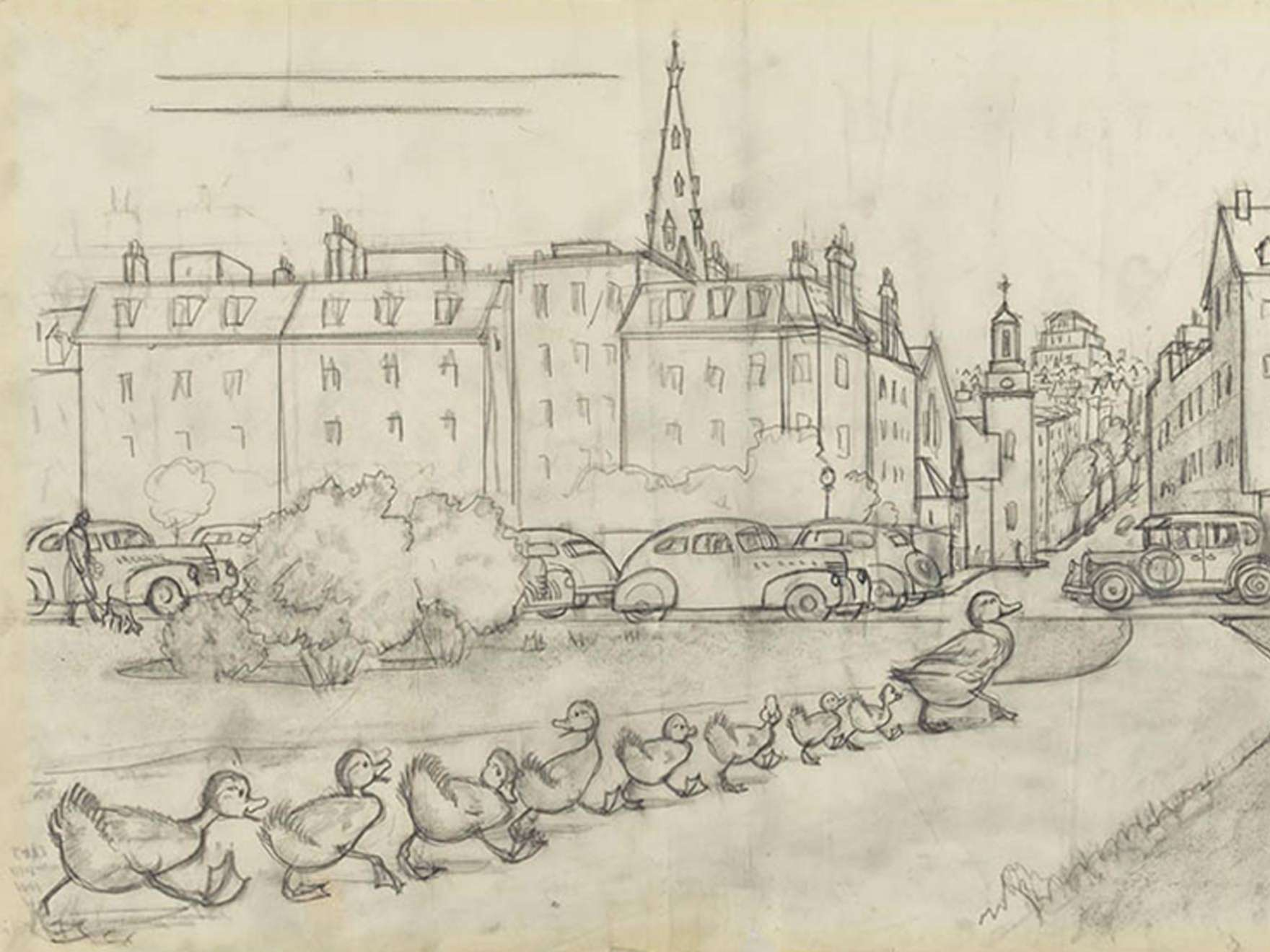 """Robert McCloskey's drawing for Make Way for Ducklings (""""There they waded ashore and waddled along till they came to the highway"""")"""