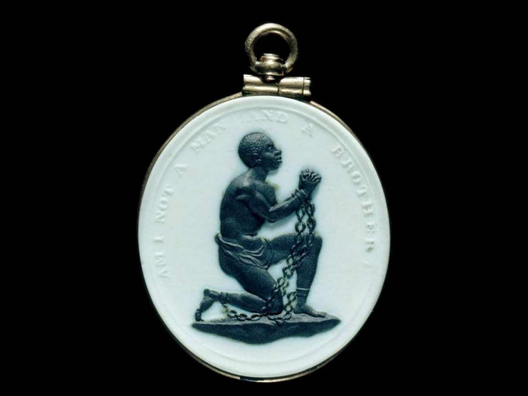 "Detail of Wedgwood Manufactory's stoneware (jasperware), ""Slave-in-Chains"" medallion"
