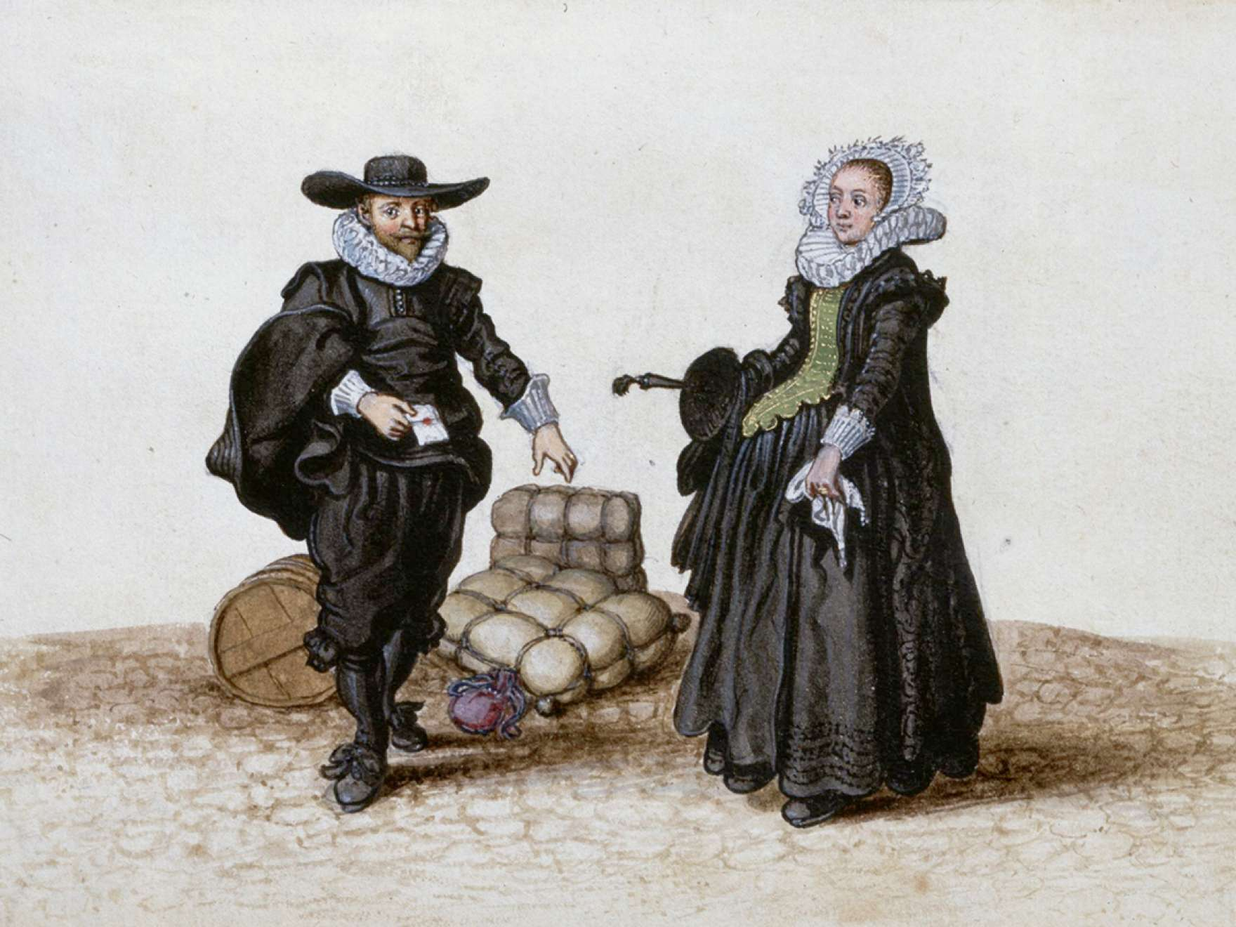 Adriaen Van De Venne, (Watercolor) A Merchant and his Wife, 1625