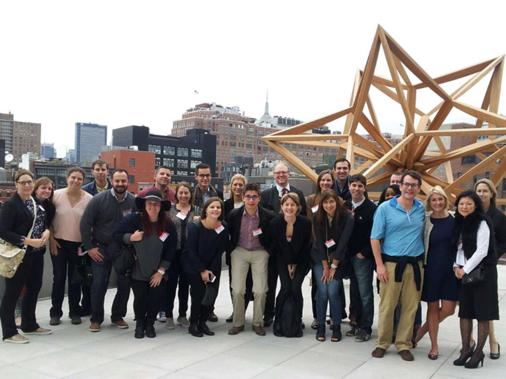 Members of the Museum Council posing on rooftop during New York City trip in November 2015