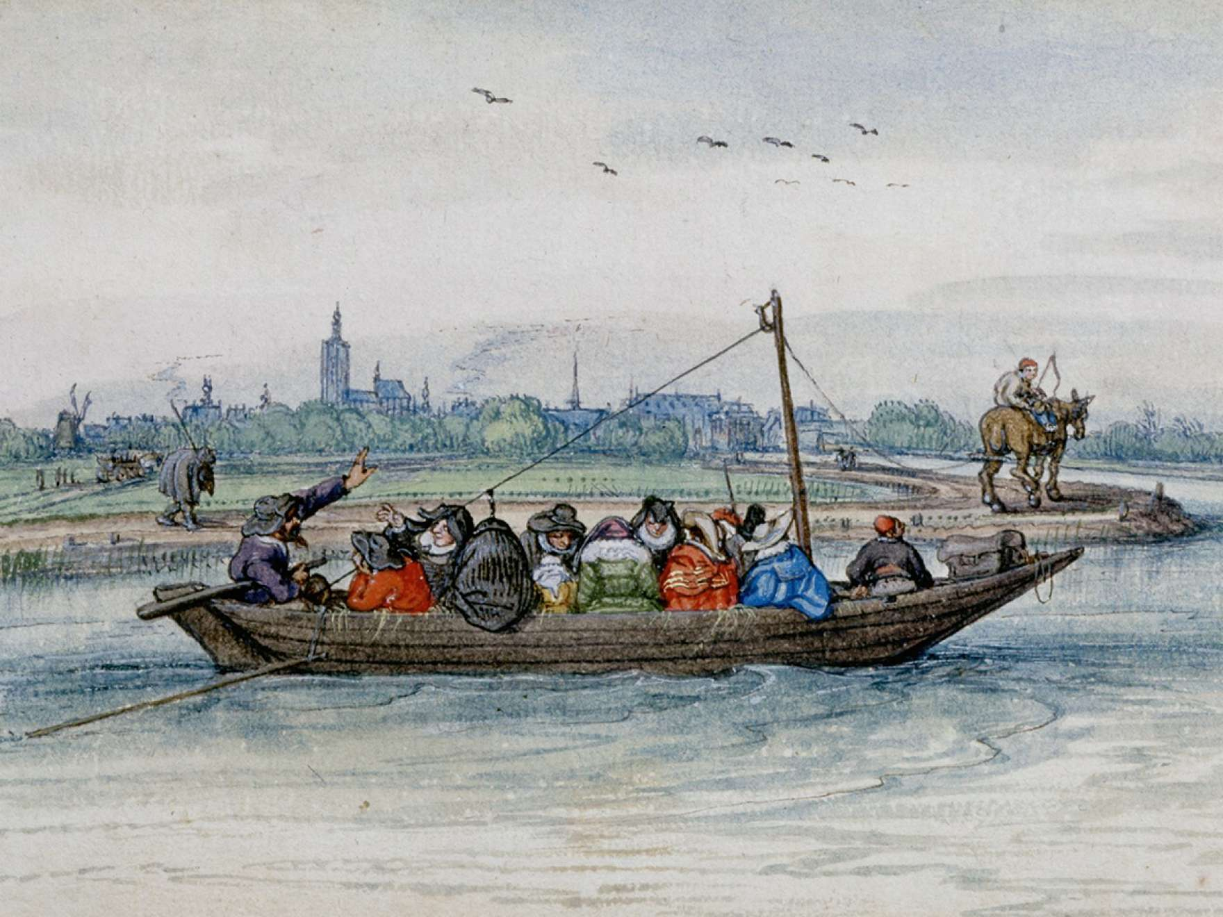 Adriaen Van De Venne, (Watercolor) A Passenger Ferry under Tow, 1625