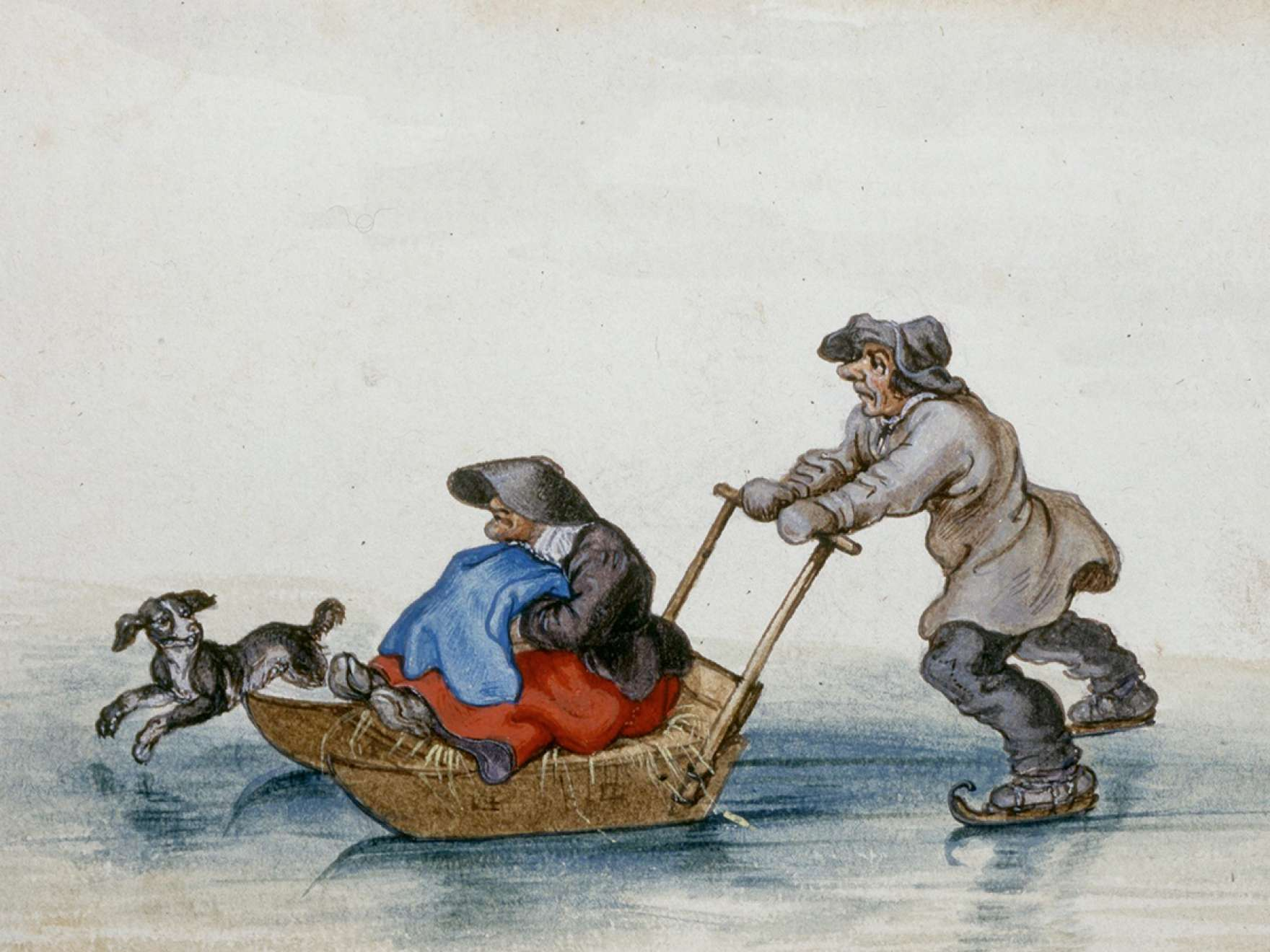 Adriaen Van De Venne, (Watercolor) A Peasant Pushing a Woman on a Sledge, 1625