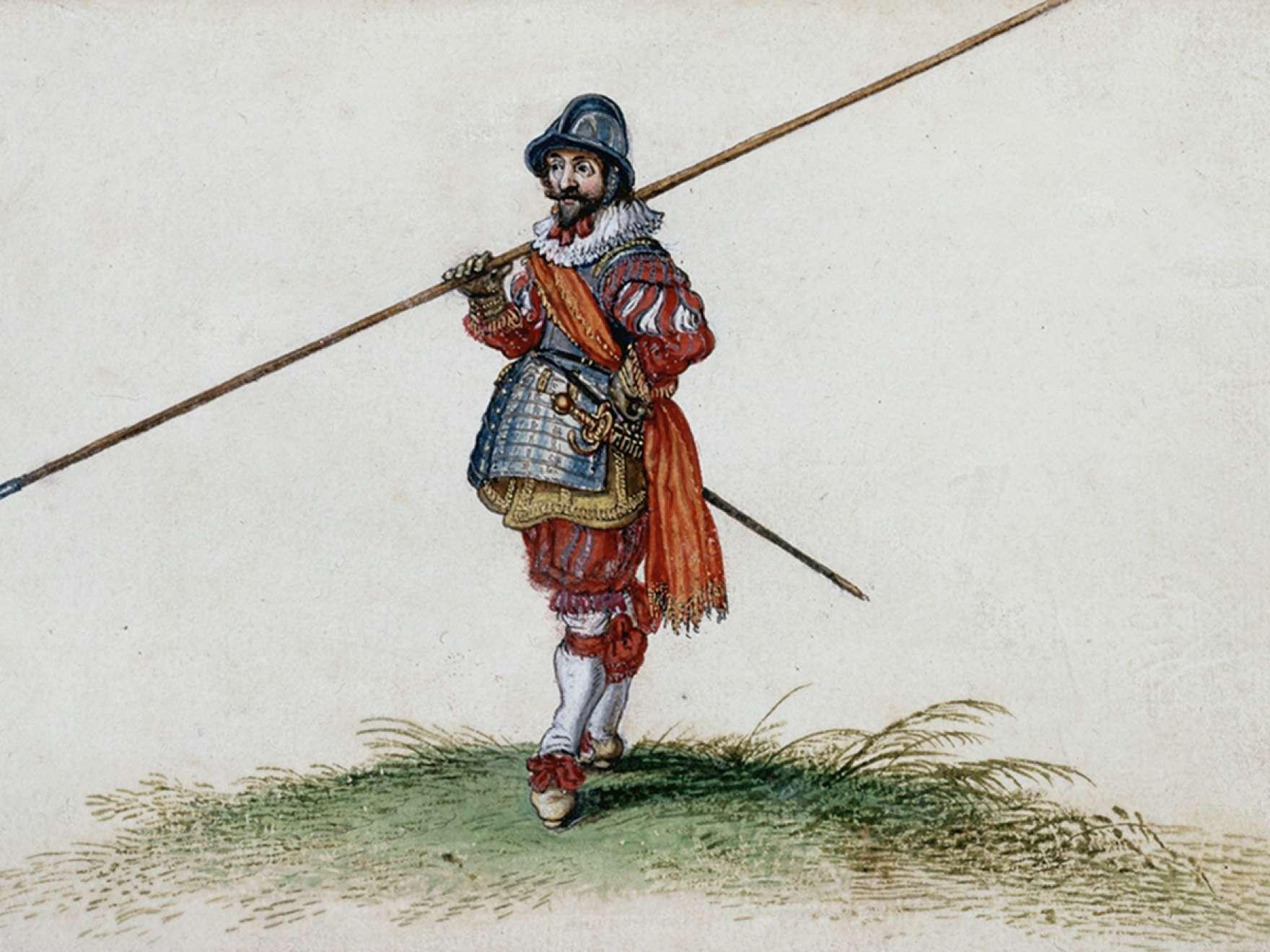 Adriaen Van De Venne, Watercolor (A Pikeman), 1625