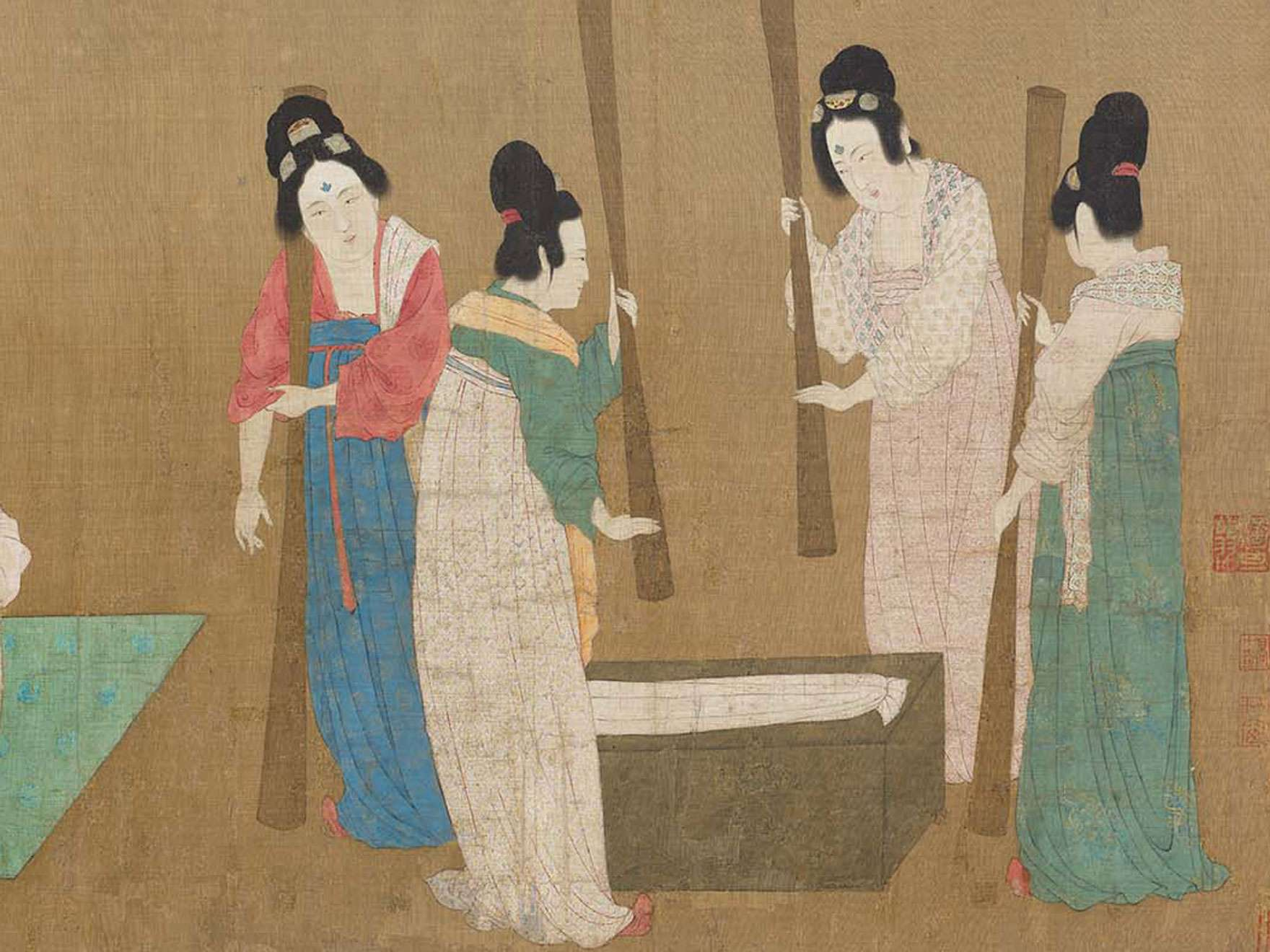 Attributed to Emperor Huizong, Court Ladies Preparing Newly Woven Silk- detail, early 12th century