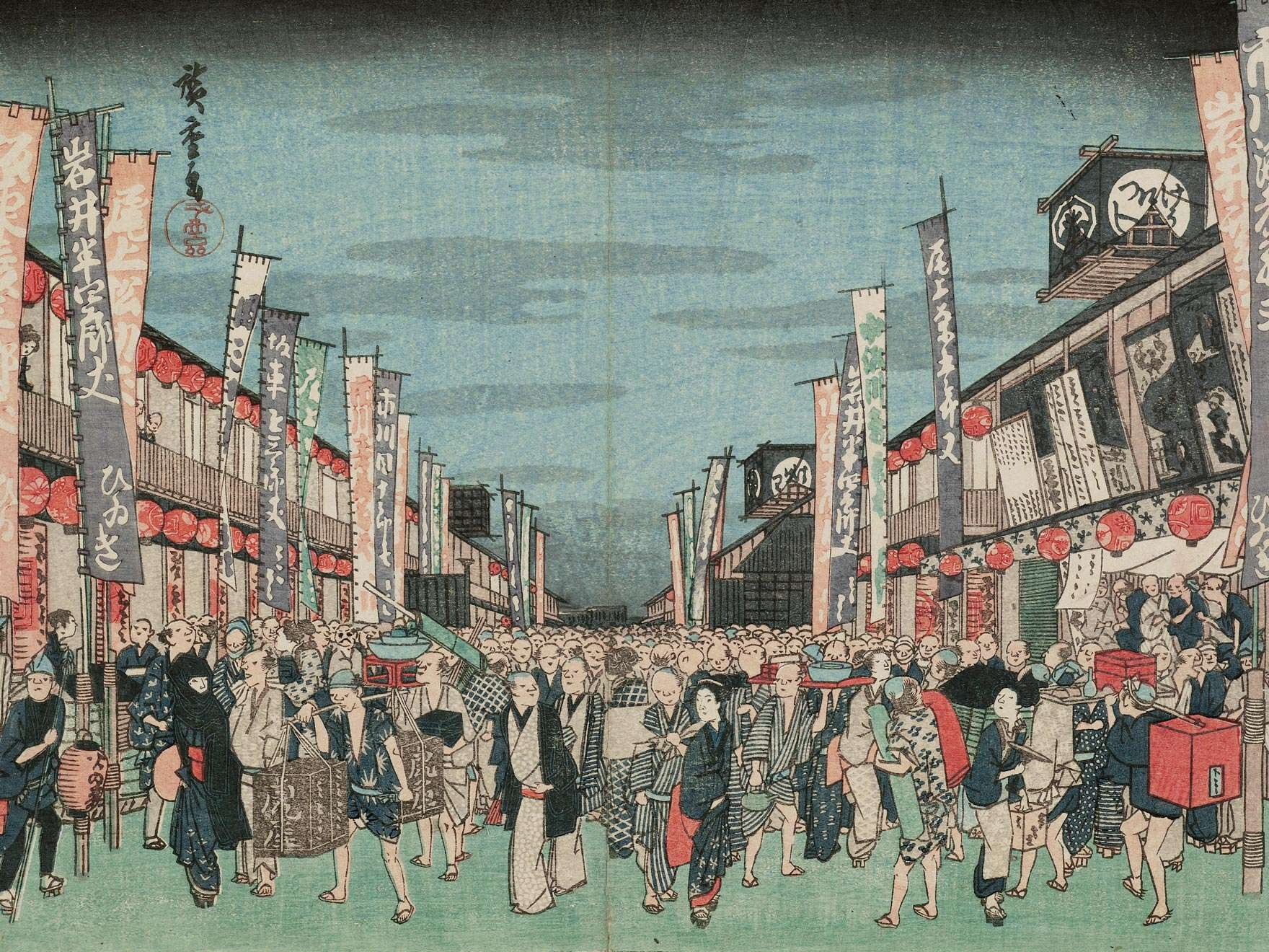 Detail of Utagawa Hiroshige I's woodblock print, Theaters in Nichōmachi from the series Famous Places in the Eastern Capital