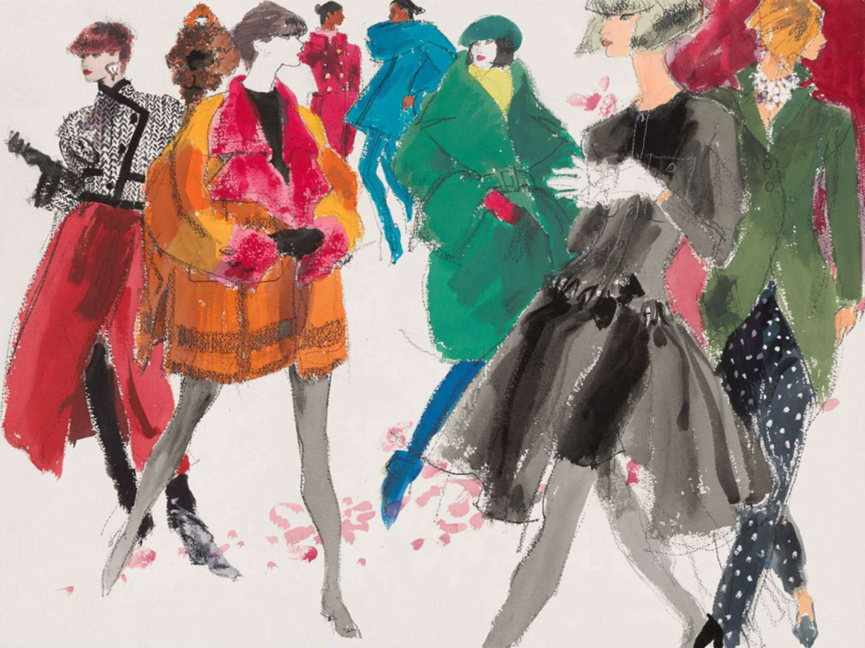 Kenneth Paul Block, Eight female models in fall coats from different French fashion houses, March 4–11, 1991