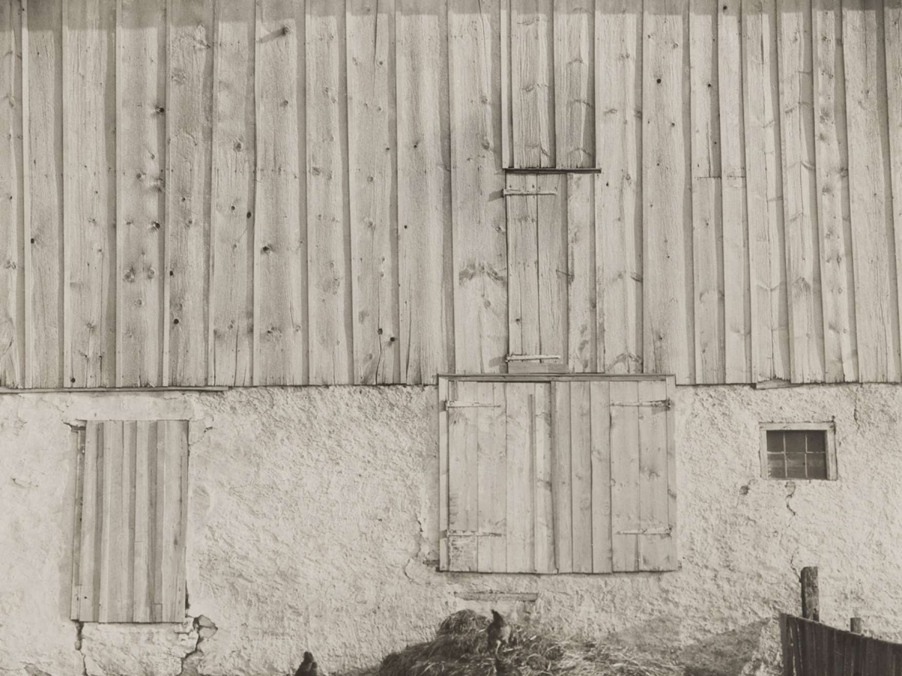 Sheeler's black-and-white photograph titled, Side of White Barn, Bucks County, Pennsylvania