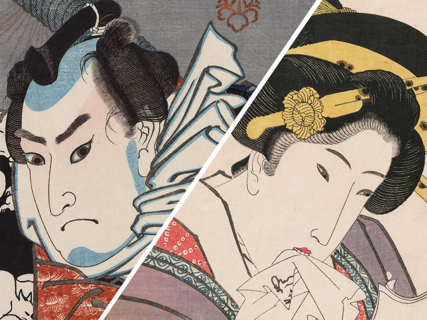 Utagawa Kuniyoshi's print, Nozarashi Gosuke, to the left of Utagawa Kunisada I's print, The In-demand Type (Yoku uresô)