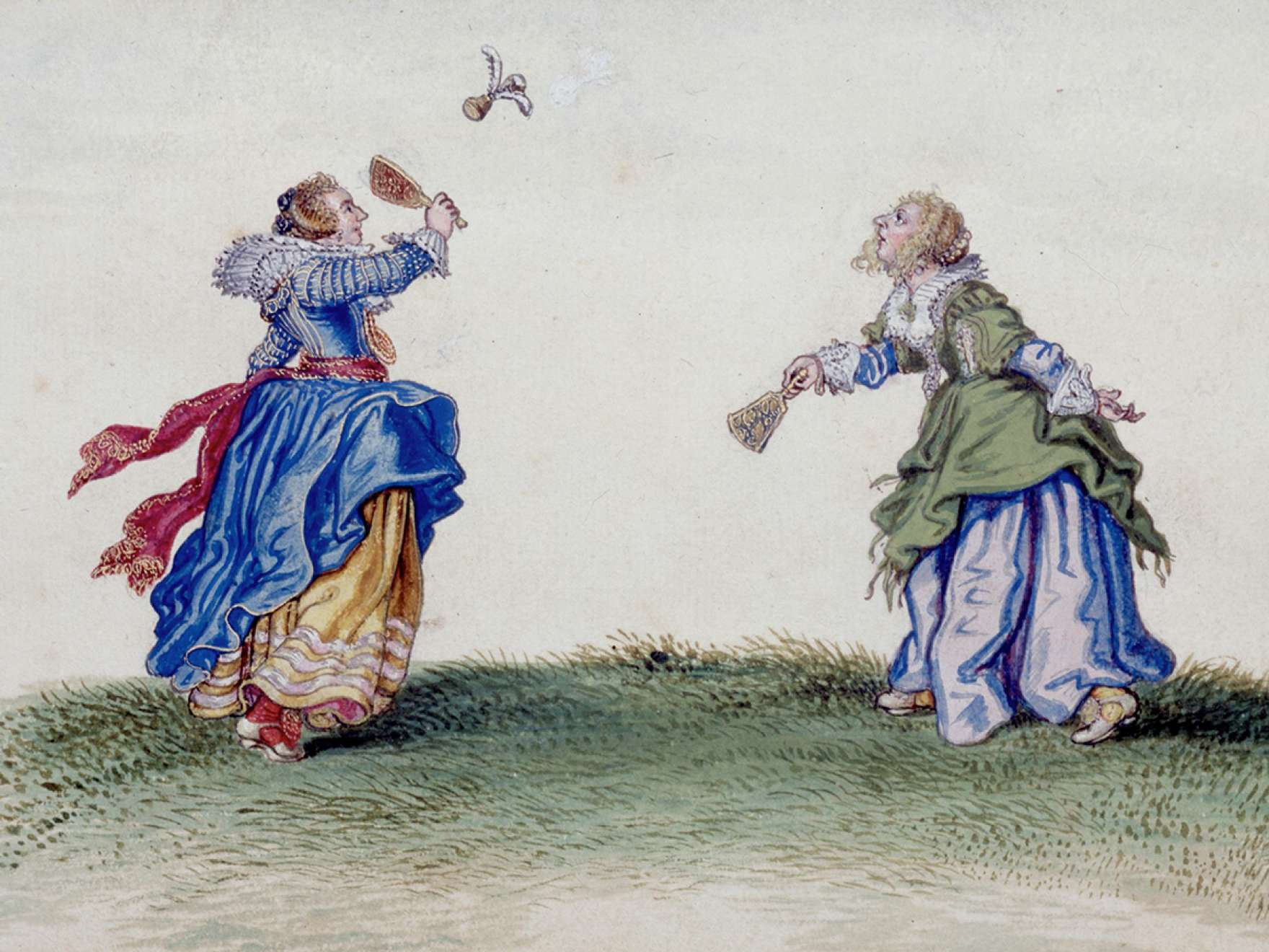 Adriaen Van De Venne, (Watercolor) Two Women Playing Battledore and Shuttlecock, 1625