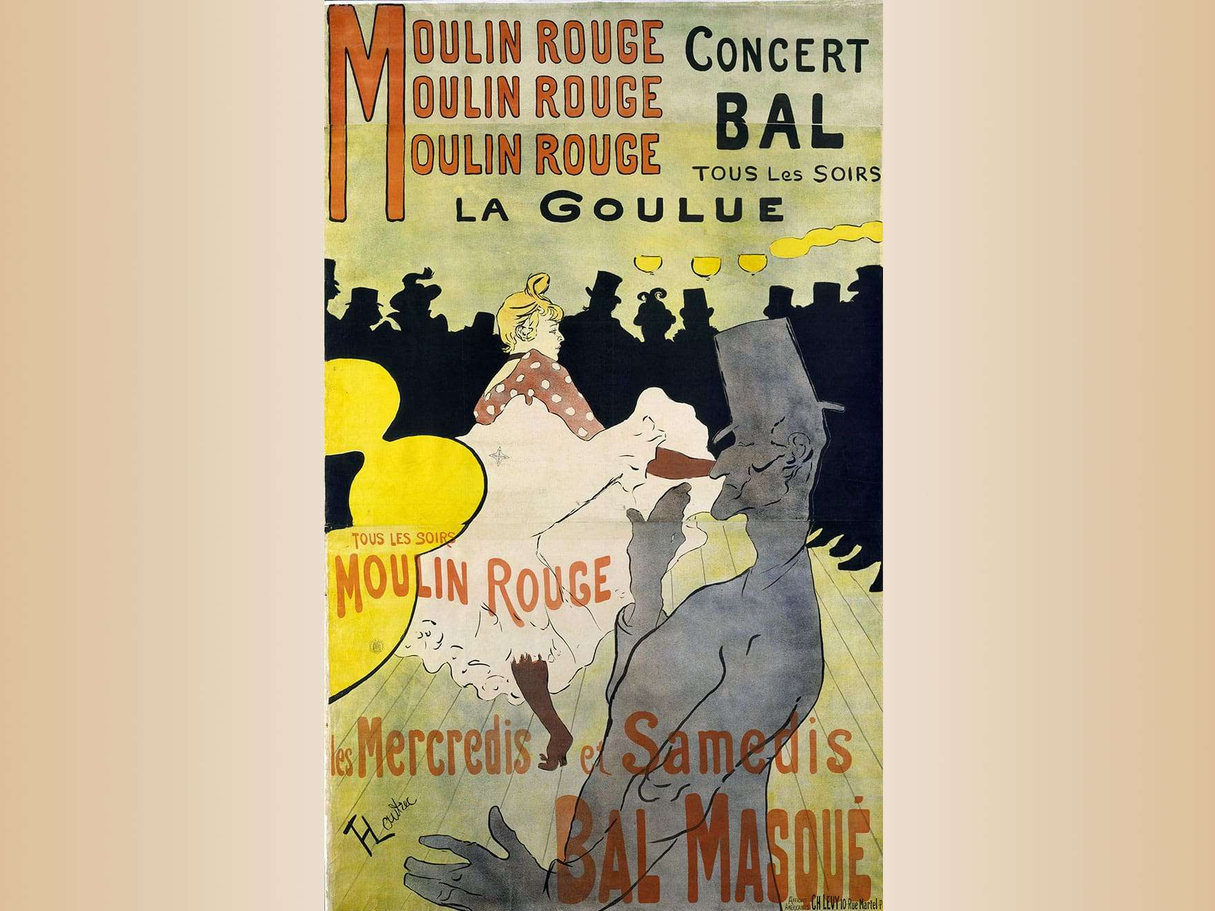 Henri de Toulouse-Lautrec, Moulin Rouge: La Goulue, 1891. Poster, color lithograph.