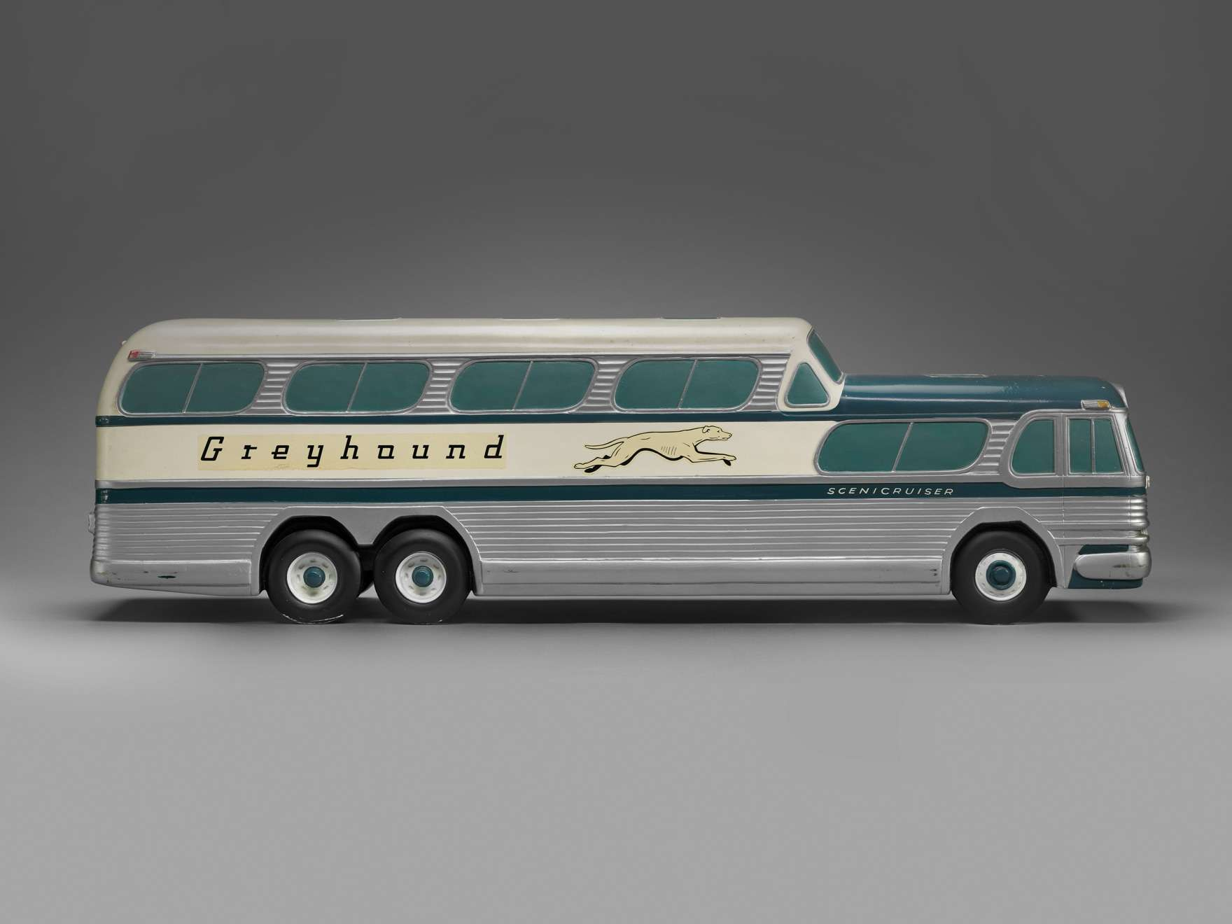 "Model of ""Greyhound Scenicruiser"" bus, made by Raymond Loewy"