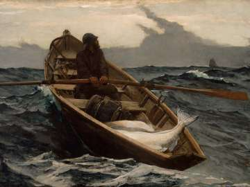 Homer's painting, The Fog Warning, depicting man in row boat on rough waters