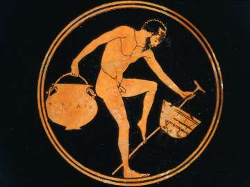 Drinking cup (kylix) depicting a man holding a basket, a pot and a staff