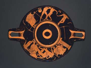 Drinking cup (kylix) depicting athletic combats