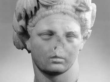 Portrait head of the Emperor Domitian idealized as Hercules