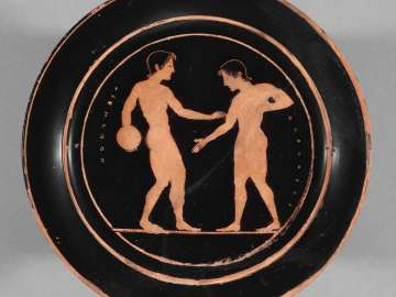 Plate depicting athletes
