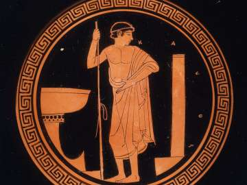 Drinking cup (kylix) with pentathletes