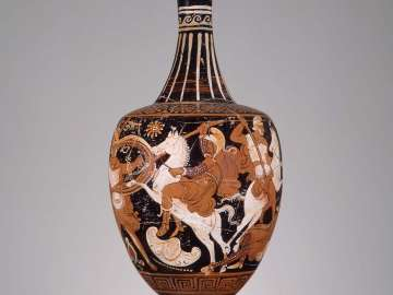 Pitcher (oinochoe) with battle of the Greeks and Amazons