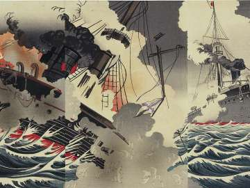 Illustration of the Great Naval Battle at the Harbor Entrance to Port Arthur in the Russo-Japanese War (Nichiro Ryojunkô daikaisen no zu)