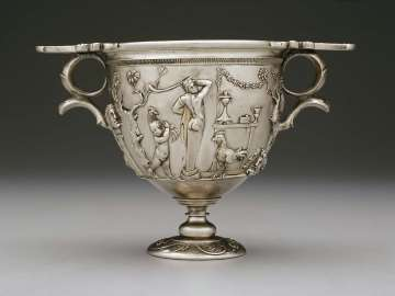 Two-handled cup (skyphos) with Bacchic scene