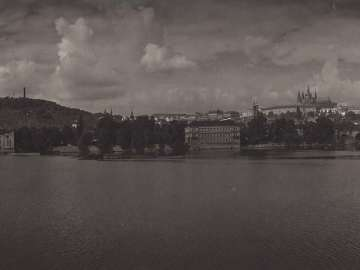 View of Castle from Smetanova Embankment Praque