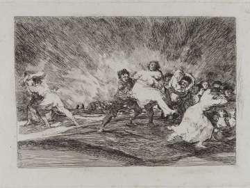 Escapan entre las llamas. (They escape through the flames); Fatales consequencias de la sangrienta guerra en España con Buonaparte. Y otros caprichos enfaticos [Disasters of War], plate 41.