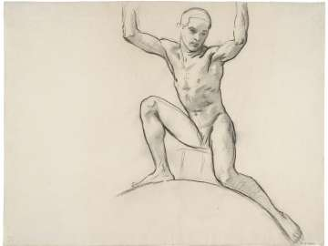 Sketch for Cartouche over Prometheus - Youth Kneeling - (MFA Rotunda)