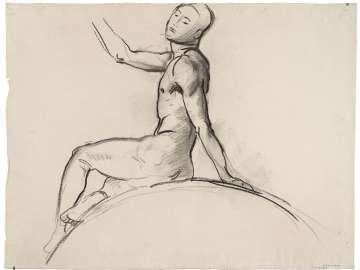 Sketch for Cartouche over Prometheus - Seated Youth - (MFA Rotunda)