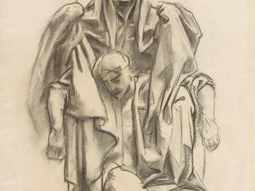 Sketch for the Church - Draped Figure - Boston Public Library Murals