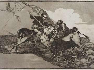 Modo con que los antiguos españoles cazaban los toros á caballo en el campo. (The way in which the ancient Spaniards hunted bulls on horseback in the open country); from the series