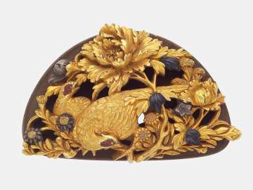 Kanamono in the form of a pair of pheasants, peony and daisies, with backplate