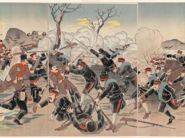 Illustration of a Fierce Russo-Japanese War Battle: Our Troops Occupy Chongju, a Great Japanese Victory (Nichiro gekisen gazu, Teishû o senryô su, Nihon dai shôri)