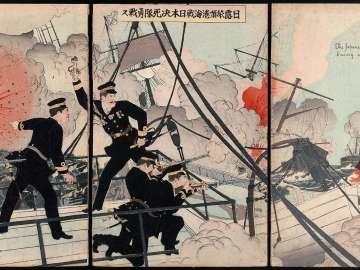 Japanese Suicide Squads Fight Bravely in the Naval Battle at Port Arthur during the Russo-Japanese War (Nichiro Ryojunkô kaisen Nihon kesshitai yûsen)