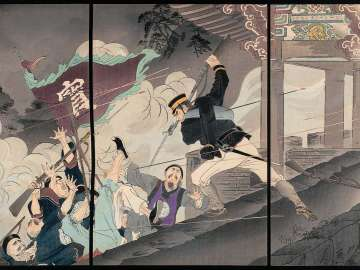 The Most Illustrious Soldier in the Battle of the Hyeonmu Gate [at Pyongyang], Harada Jûkichi, Climbs Up Ahead and Fights Bravely (Genbumon kôgeki zuiichi gunkôsha Harada Jûkichi shi sento funsen zu)