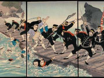 Sino-Japanese War: The Fierce Battle on the Pontoon Bridge at Jiuliancheng (Nisshin: Kyûrenjô funabashi gekisen no zu)