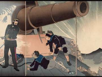 In the Battle of the Yellow Sea a Sailor onboard Our Japanese Warship Matsushima, on the Verge of Dying, Asked Whether or Not the Enemy Ship Had Been Destroyed (Kôkai no tatakai ni waga Matsushima no suihei shi ni nozonde tekikan no sonpi o tou)