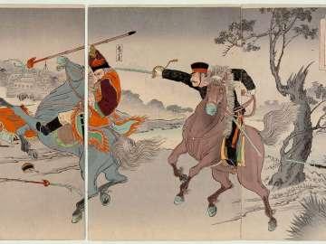 Sino-Japanese Pitched Battles: Two Generals Fighting at Fenghuangcheng (Nisshin gekisen ryôshô Hôôjô sen no zu)
