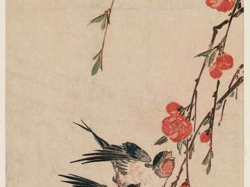 Swallows, Peach Blossoms, and Moon