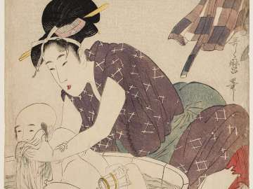 Woman Bathing a Small Boy
