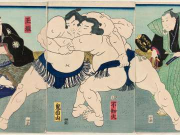 Sumô Wrestlers Shiranui (R) and Kimenzan (L), Referee Shikimori Inosuke (R), and Judge Tamagaki (L)