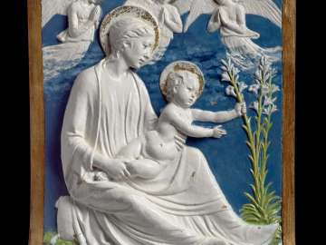 Virgin and child with lilies