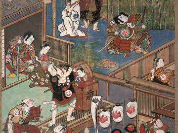 Theater Signboard Depicting Scenes from the Play Shusse Taiheiki