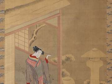 Woman Admiring a Snow-covered Garden