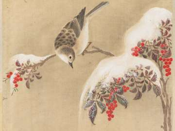 Bunting and Snow-covered Nandina from the album Birds and Flowers