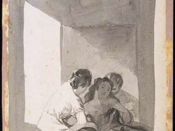 Double-sided drawing: It is summer and by moonlight they take the air and get rid of their fleas by touch. (Es herano y a la luna, toman el fresco, y se espulgan / al tiento)
